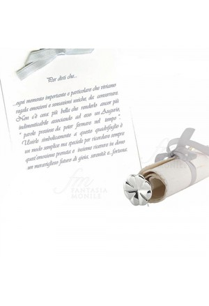 Pergamena Augurale Acca Rotulus Placcato Argento Stemma Quadrifoglio AR 870 AP