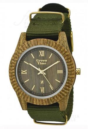 Orologio Uomo Legno Sandalo Cinturino Tessuto Wood Green Time ZW011C