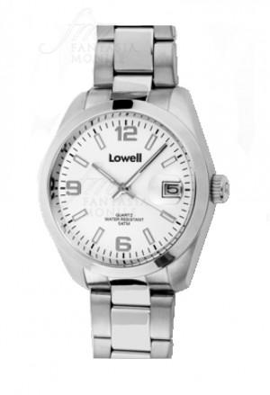 Orologio Lowell Uomo Lavoro Quadrante Bianco Datario Acciaio Classic PL5000-01
