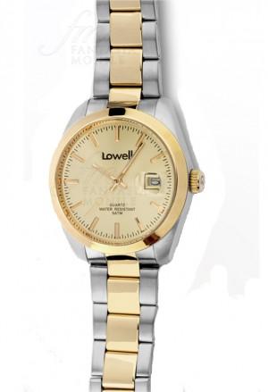 Orologio Lowell Uomo Lavoro Quadrante Champagne Datario Acciaio Dorato Classic PL5000-26