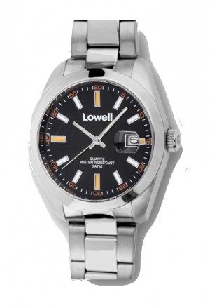 Orologio Lowell Uomo Lavoro Quadrante Nero Datario Acciaio Classic PL5000-07