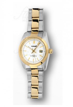 Orologio Lowell Donna Lavoro Quadrante Bianco Datario Acciaio Dorato Classic PL5200-21