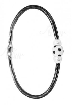 Bracciale Juventus Pallone Bianconero Squadra Calcio Tube Argento 925 Fantasia Monile EIN8HFM