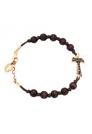 Bracciale Unisex Croce Tau San Francesco Legno Cordura Brown Argento 925 Gold Tau Collection 1MB80FM