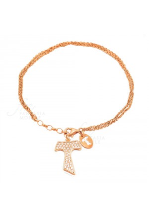 Bracciale Donna Tau San Francesco Cristalli Argento 925 Dorato Gold Tau Collection ZJU7LFM