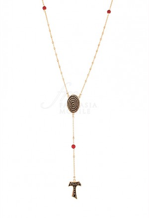 Collana Rosario Tau San Francesco Argento 925 Dorato Tau Collection YNACQFM