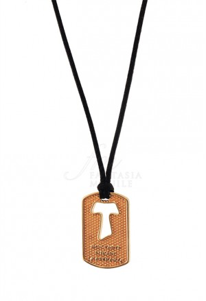 Collana Croce Tau San Francesco Argento 925 Dorato Tau Collection 9NSL7FM