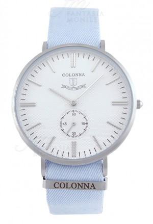 Orologio Colonna Uomo Polsino Sartoriale Celeste Quadrante Bianco Stile Vintage Acciaio 89FWJFM