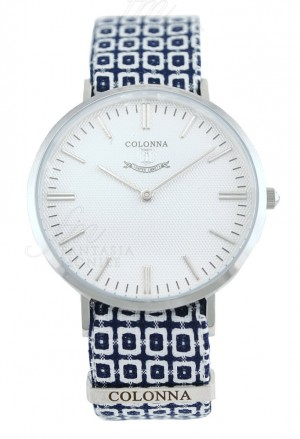 Orologio Colonna Uomo Polsino Sartoriale Blu Bianco Quadrante Bianco Acciaio B9HSTFM
