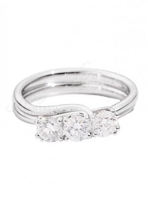 Anello Recarlo Trilogy 3 Pietre Modello Isabella Diamanti Naturali Oro 18kt Donna R61TY001