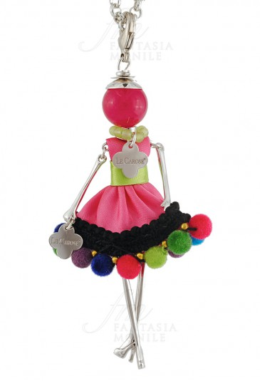 Collana Le Carose Boho Chic Vestito Tessuto Rosa Verde Pon Pon Donna 1D36OFM