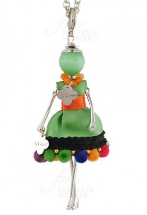 Collana Le Carose Boho Chic Vestito Tessuto Verde Aracione Pon Pon Donna 0FW0XFM