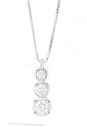 Collana Recarlo Trilogy 3 Pietre Modello Bianca Diamanti Naturali Oro 18kt Donna P23TS364/025-45
