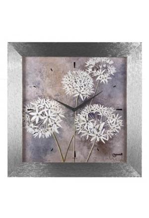 Orologio Lowell Da Parete Muro Modello Prestige Stampa Artistica Fiori Cornice Legno Silver Design 11963