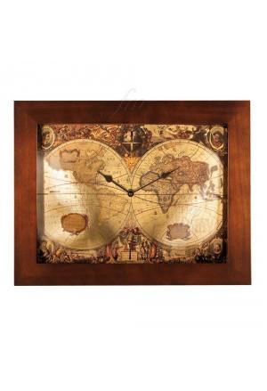 Orologio Lowell Da Parete Muro Modello Prestige Stampa Artistica Mappamondo Cornice Legno 05475