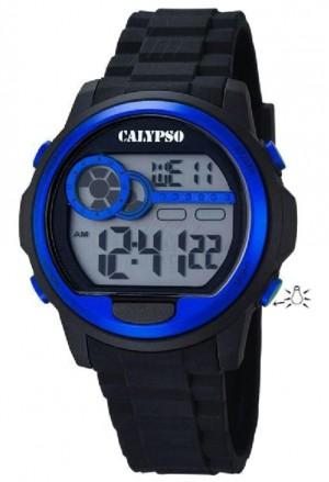 Orologio Calypso Digitale Cronografo Luminoso Nero Blu K5667/3