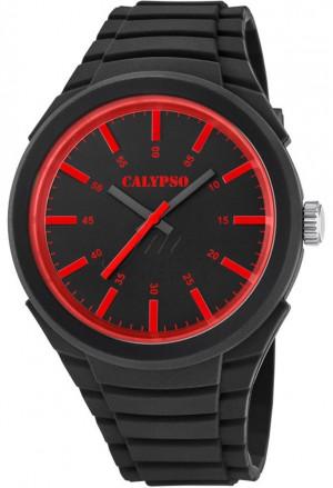 Orologio Calypso Uomo Solo Tempo Nero Rosso Gomma K5725/2