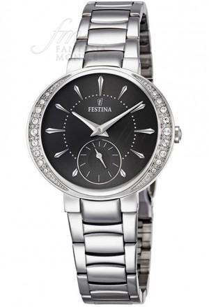 Orologio Festina Donna Lady Acciaio Silver Quadrante Black Cristalli Elegante F16909/2