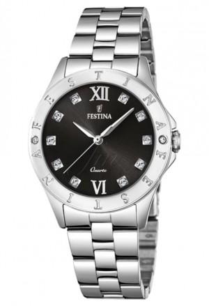 Orologio Festina Donna Lady Acciaio Silver Cristalli Index Quadrante Black Elegante F16925/B