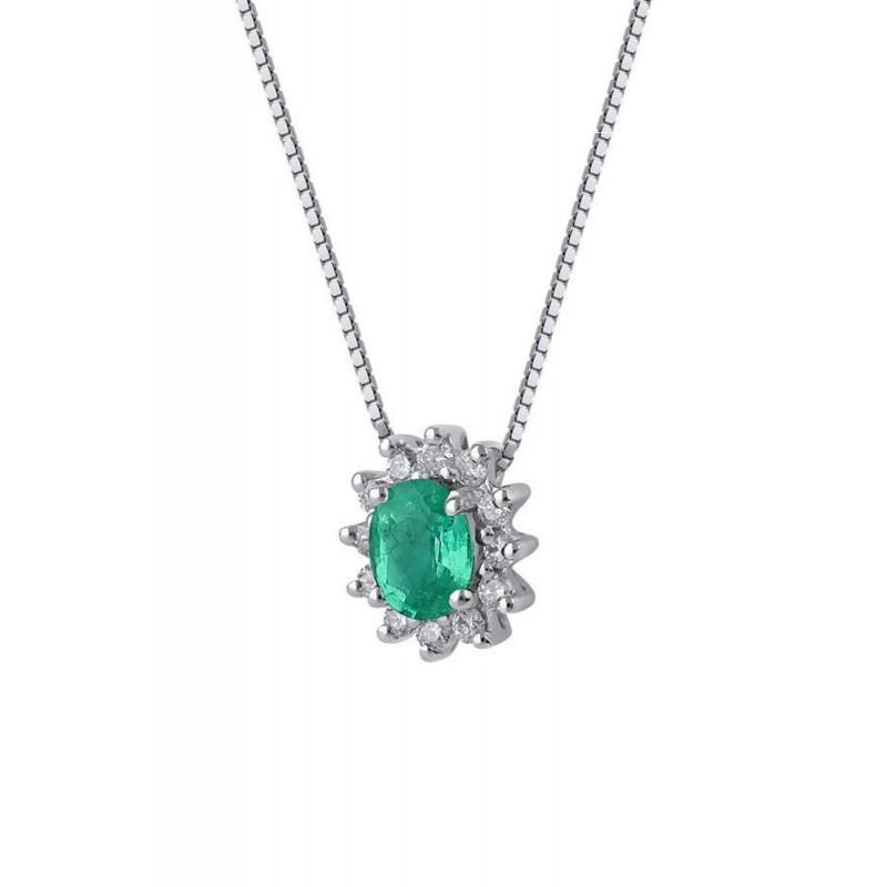 Conosciuto Collana Donna Smeraldo Verde Oro Diamanti Naturali Demetra139.040.S12 NU53